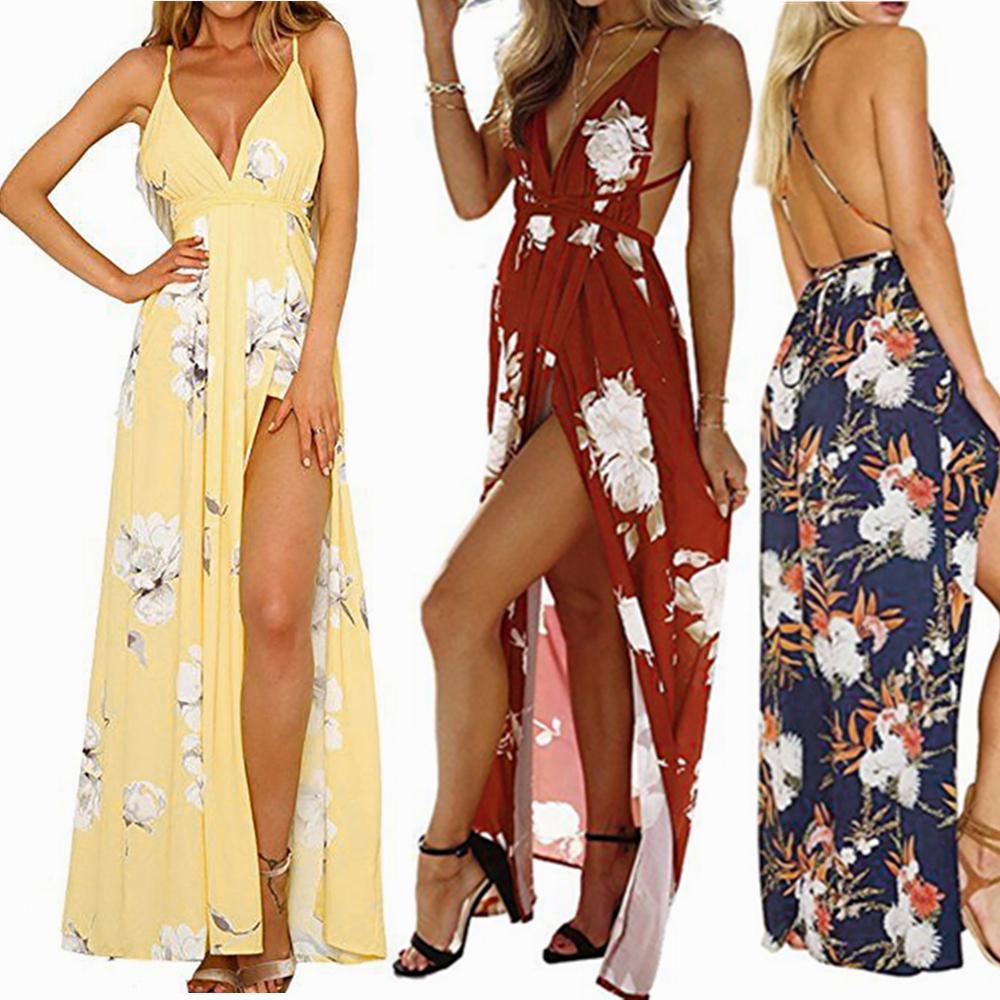 025aa9f10f04 Vestir flor de las mujeres sin mangas sexy vestido de fiesta largo de noche  vestido de playa