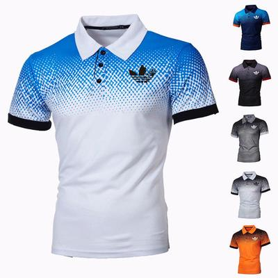 2021 Men's Trendy Casual Lapel Short Sleeve Top Fashion Letter Print Stand Collar