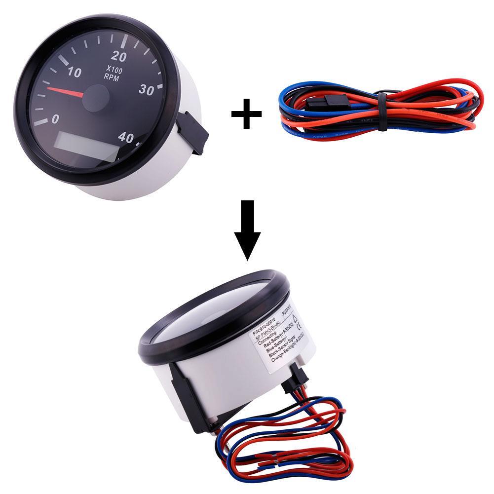High Precision Tachometer Gauge WEMA LCD Tacho Hour Meter 12//24V 0-4000 RPM 85mm