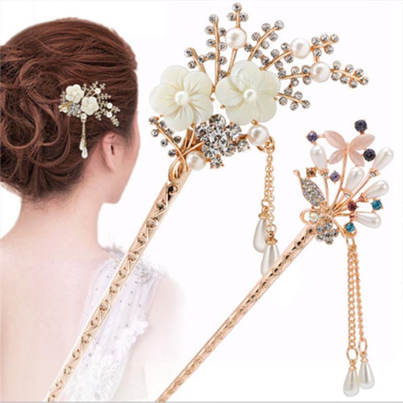 20Pcs fleur mariage cheveux Pins Clips Bridesmaid Cristal Strass Mariée Clips