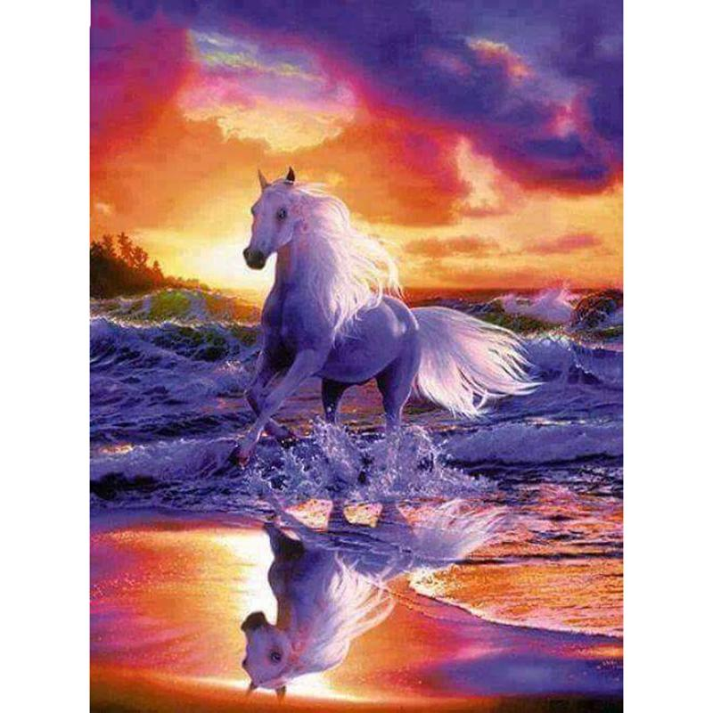 5D DIY Full Drill Diamond Painting Horse Cross Stitch Embroidery Mosaic Kit  #Z