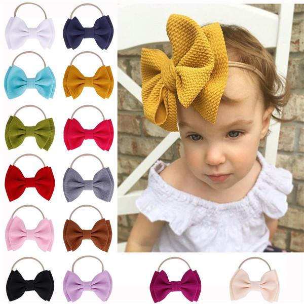 Loverly Bows Texture Top Knot For Girl Kids Wide Headband DIY Hair Band Headwrap