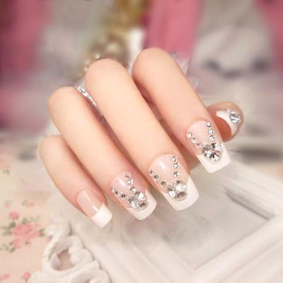 121a12c14f Largo francés falsificación uñas con pegamento para novia Madrina damas  partido completo uñas consejos tamaño mezclado