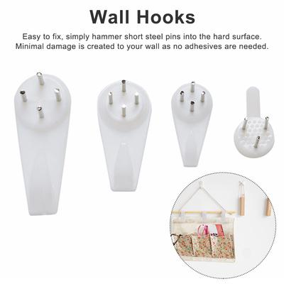 20X Plastic Hard Picture Frame Wall Hooks Photos Mirror Hanging Hangers White P0