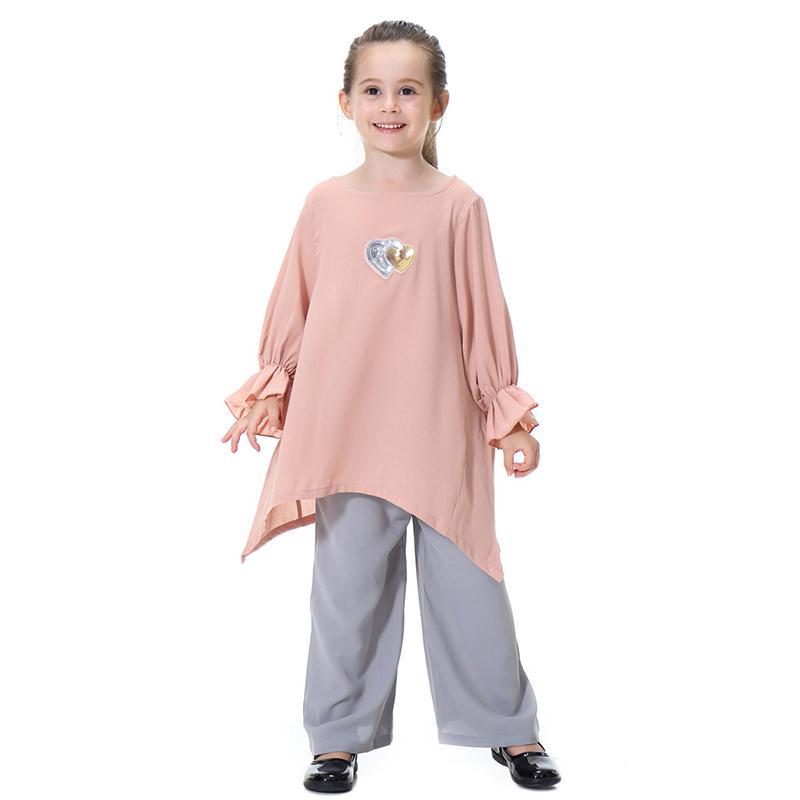 Muslim Kids Girls Plain Trousers Baggy Loose Casual Wide Leg Long Palazzo Pants