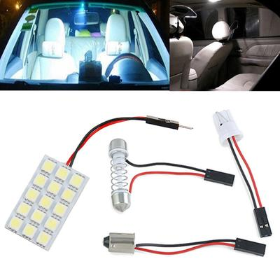 DC 12V 5050 15SMD LED White Light Car Interior T10 Festoon BA9s Lamp Panel Light