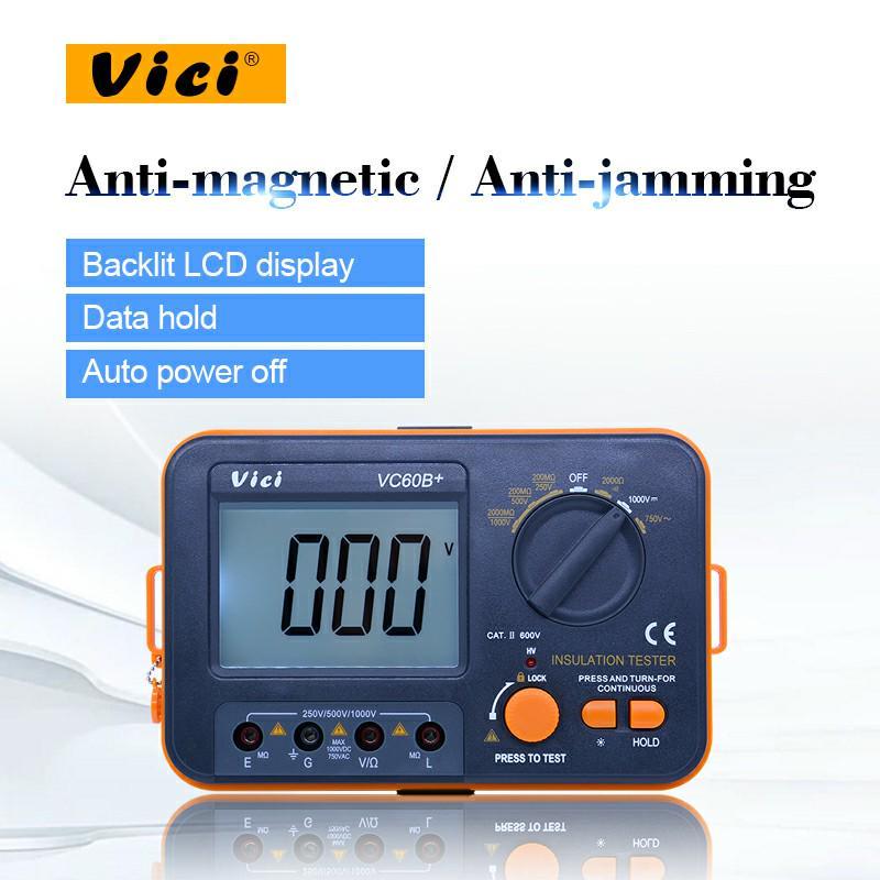 Digital Insulation Resistance Tester LCD 1000V Megger Insulation 0-2000M Ohm High Voltage Short Circuit Input Alarm Elikliv VICI VC60B