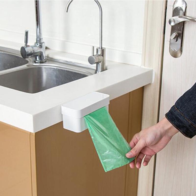 Главная стена монтажа мусорный мешок хранения коробка кухня Ванная комната держатель пластиковый мешок дозатор контейнер – купить по низким ценам в интернет-магазине Joom