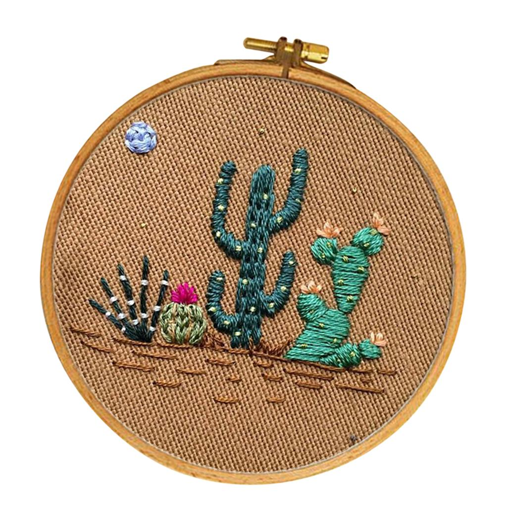 Bamboo Hoop Embroidery Floss Cactus Series,/… Stamped fabric Needles Embroidery Starter Kits for Adults Beginners with Stamped Pattern