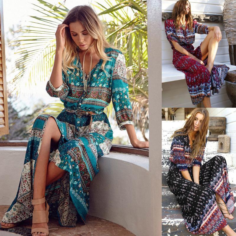 波西米亚印花新款连衣裙 女装长沙滩裙