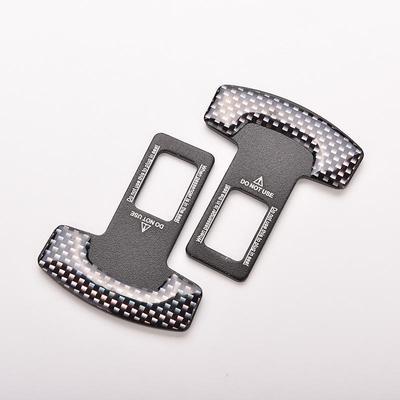 Pair Universal Black Carbon Fiber Car Safety Seat Belt Buckle Alarm Stopper Clip