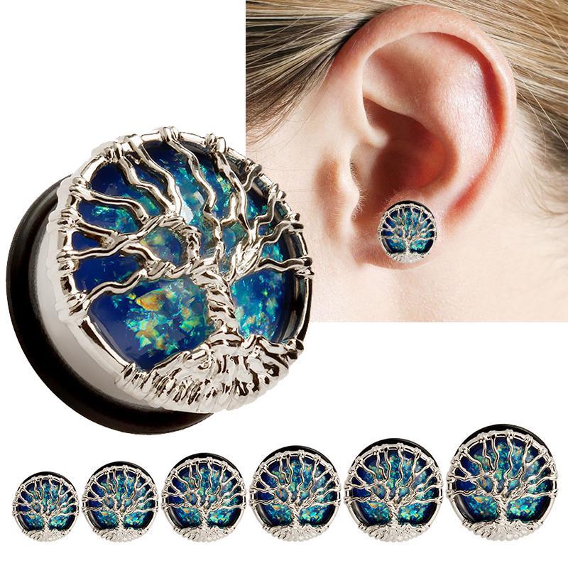 Flesh Tunnel Ear Plug Piercing Vintage Retro Lotus Flower Bloom Stainless Steel