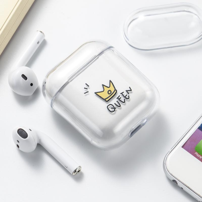 2020 Transparent Wireless Charging Cover Protective Earphone Cover Crystal Clear AirPods Case For Apple AirPods 1 2 Shockproof Hard PC Case From