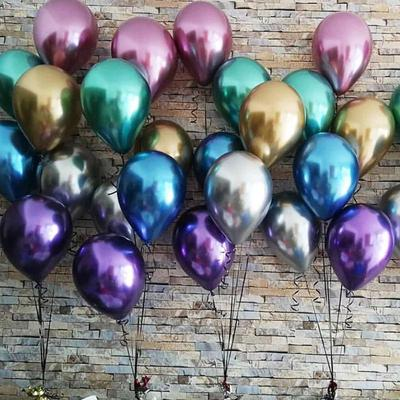 5 Pcs Pearl Latex Balloons Thick Chrome Metal Glossy Air Balls For Birthday Party Decor