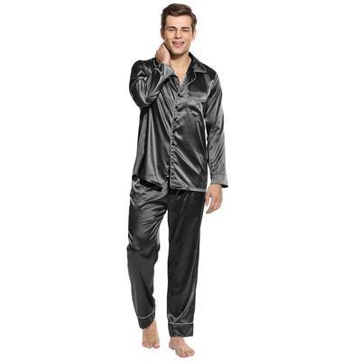 e223404eaf HoMel Mens Sleepwear sottile tinta contrasto colore girare giù il collare pigiami  pigiama Set
