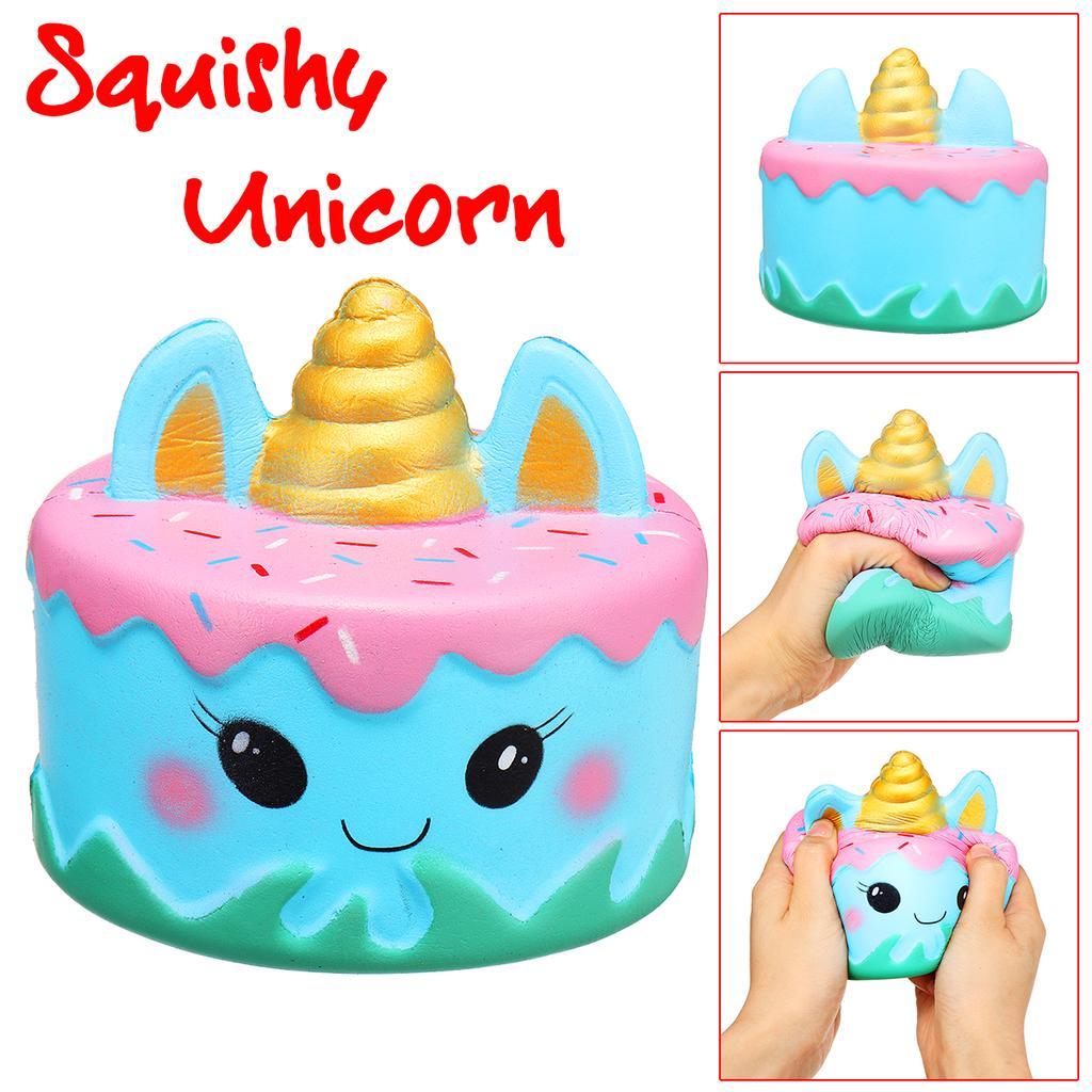 501cf99a1 Lento pastel de juguete squishy azul narval pastel de unicornio crema de  crecimiento lento perfumada prensa suave juguete divertido