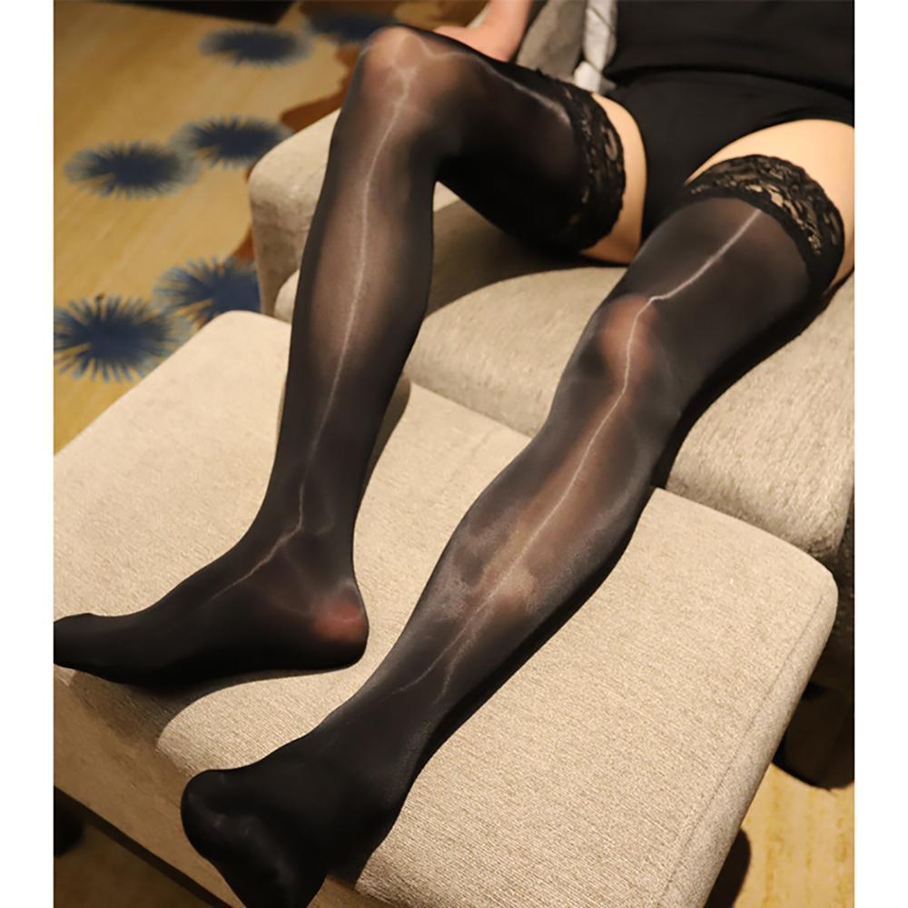 Мужчины Сексуальная Шелковистая Смотрите через чулки бедра Высокие носки кружева Trim Stretchy – купить по низким ценам в интернет-магазине Joom
