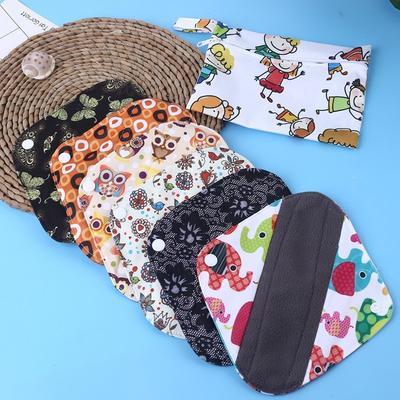 6pcs 10 Inch Regular Charcoal Bamboo Mama Cloth//Menstrual Pads//Reusable Sanitary Pads 7pcs Set 1pc Mini Wet Bag Sunflower