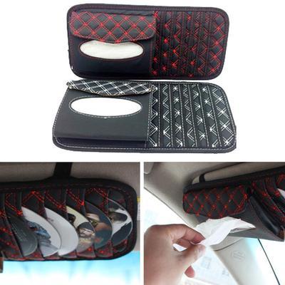 Car CD Pocket Sun Visor Organizer Gray Pouch Bag Pen Glasses Storage Holder