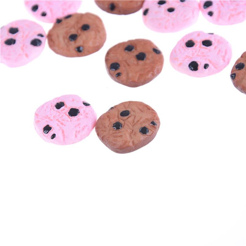 10Pcs Chocolate Chips Cookies Bakery 20mm Miniature Dollhouse Kitchen DecoYF