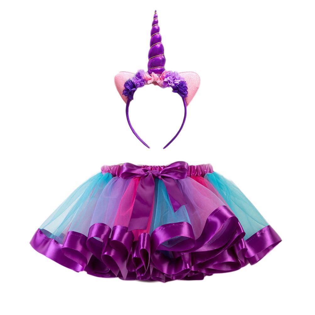 Newborn Infant Pettiskirt Set Skirt Headband Tutu Rainbow Bubble Skirt Photography Prop for Girls Baby Photography Accessories