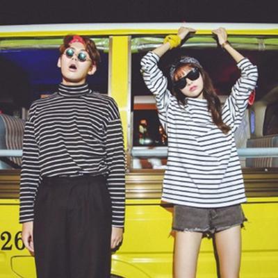 cc09e94dd8693 Винтажные пара рубашки с длинным рукавом полосатой напечатаны свободные  водолазку женщин рубашку классические женские топы