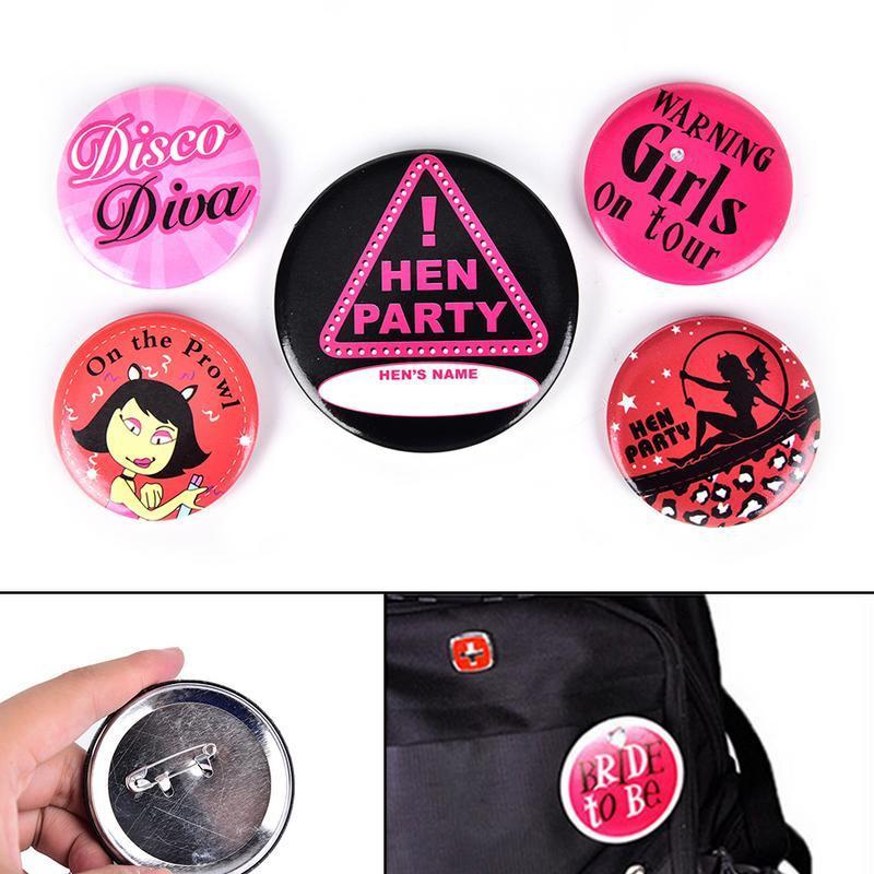 8pcs//Set  Warning Girls on Tour Tin Badge Hen Party Accessories