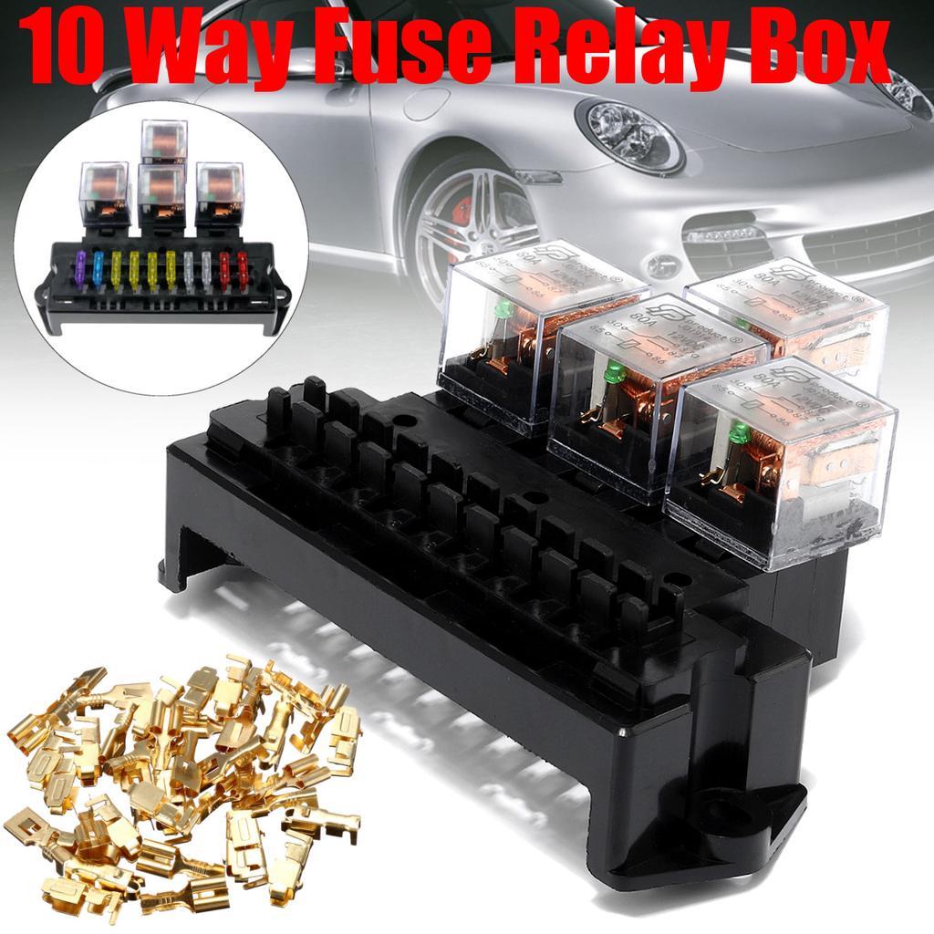 1 Power in 4 way Fusebox fuse blade box fuseholder kit car//boat//marine//landrover
