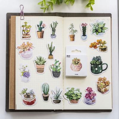 45pcs//pack Plant cactus Stickers DIY decorative Sealing Scrapbooking stickers