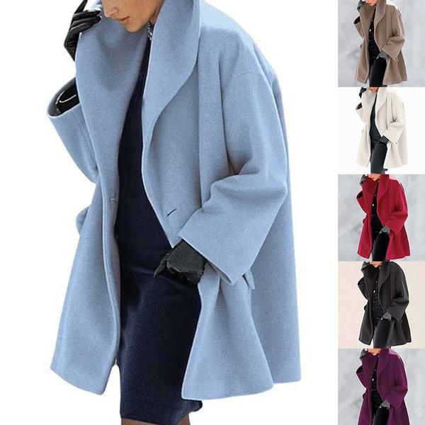 Женщины теплая мода Твердые цвет пальто случайный платок воротник Fleece Длинные куртки пальто – купить по низким ценам в интернет-магазине Joom