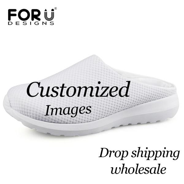 Womens Fashion PU Print Slippers Antiskid Rubber Bottom Quick Drying Breathability Beach Shoes