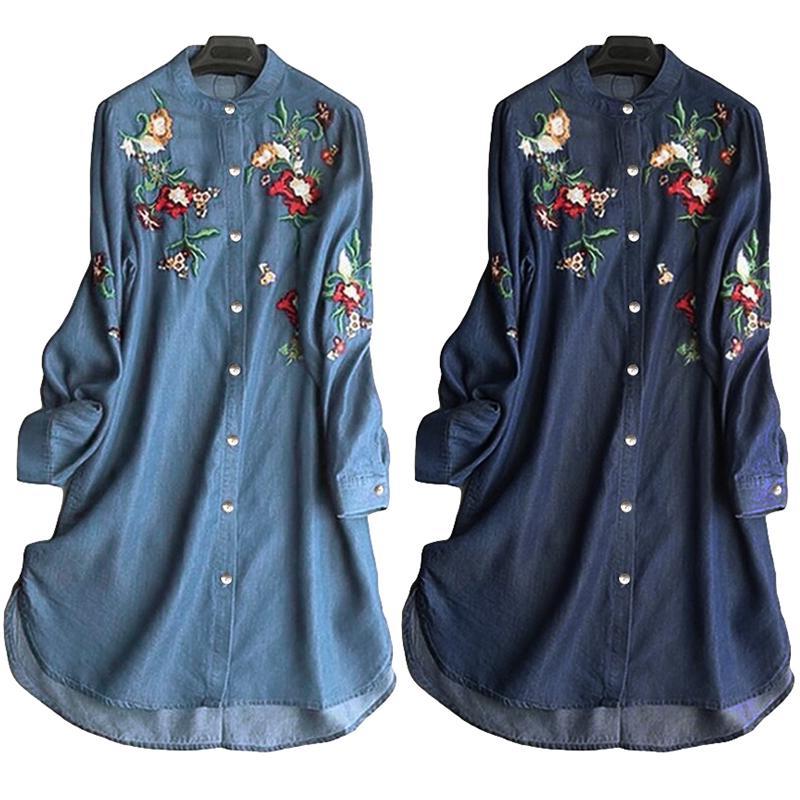 Женская длинная рубашка - туника на пуговицах с вышивкой из цветов фото