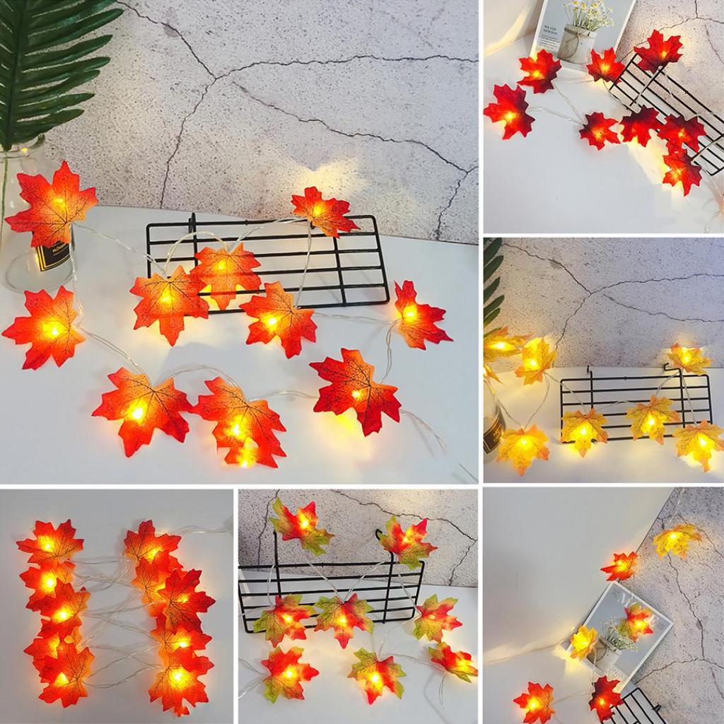 Halloween Fall Maple Leaf LED String Fairy Light Christmas Party Indoor Decor