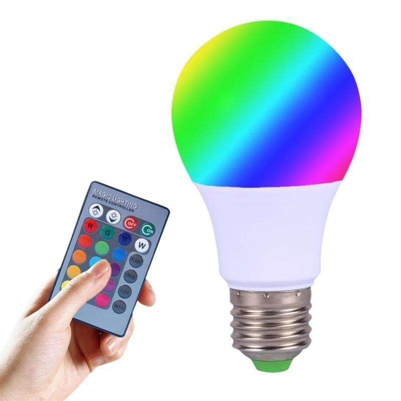 3W/5W E27 светодиодные лампы высокой мощности светодиод лампа свет LED 24 ключ ИК пульт дистанционного управления фото
