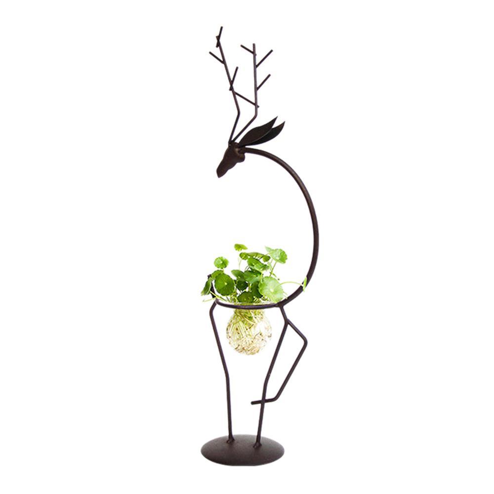 Brracd Iron Wedding Candle Holder,Plant Glass Vase Iron Hanging Stand Holder Home Garden Decoration,Black