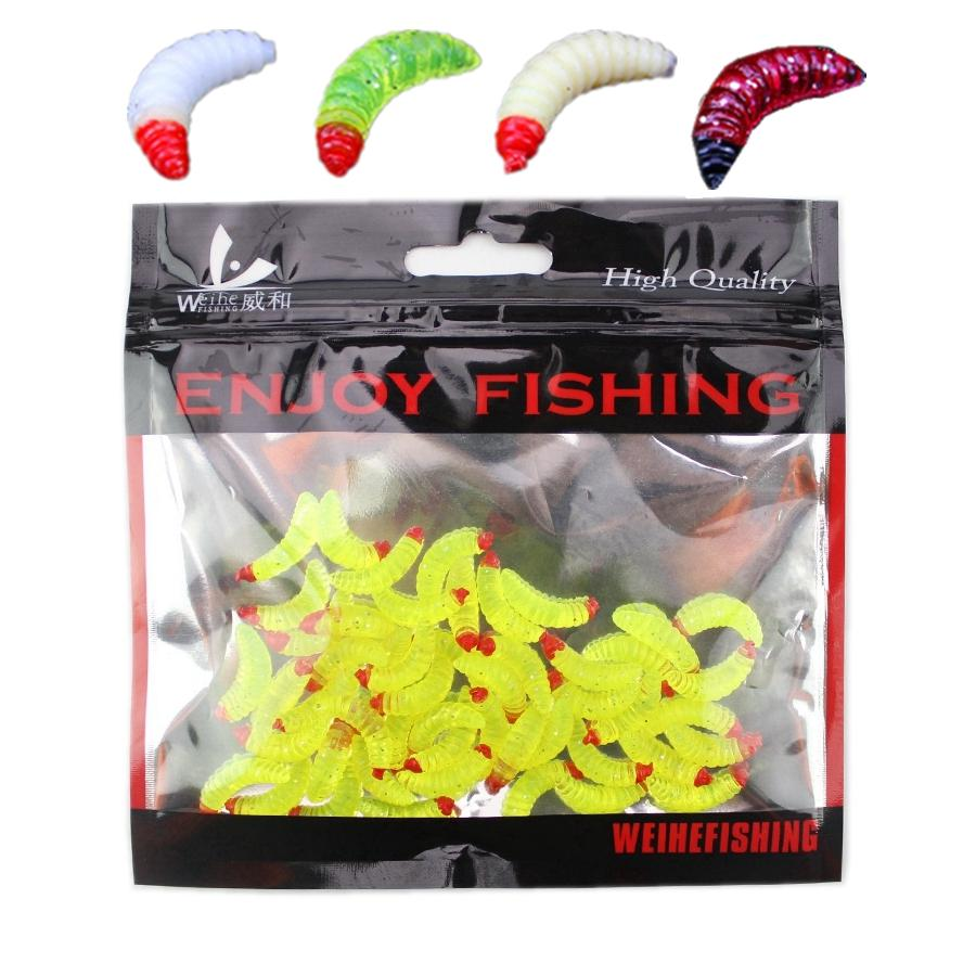 Baost 50 Pcs Soft Silicone Mealworms Maggot Grub Worm Fishing Lures Fake Worms Fishing Bait Tackle Reusable Artificial Baits Maggots Worms Fish Tackle Toy Fishing Topwater Lures