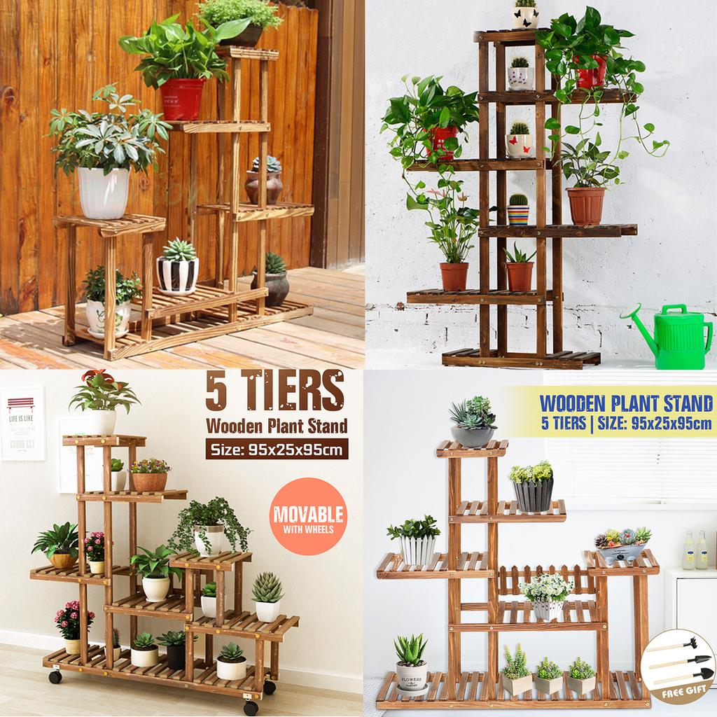 5 Tier Garden Wooden Plant Stand Pot Planter Holder Rack Display Shelves Outdoor Buy At A Low Prices On Joom E Commerce Platform