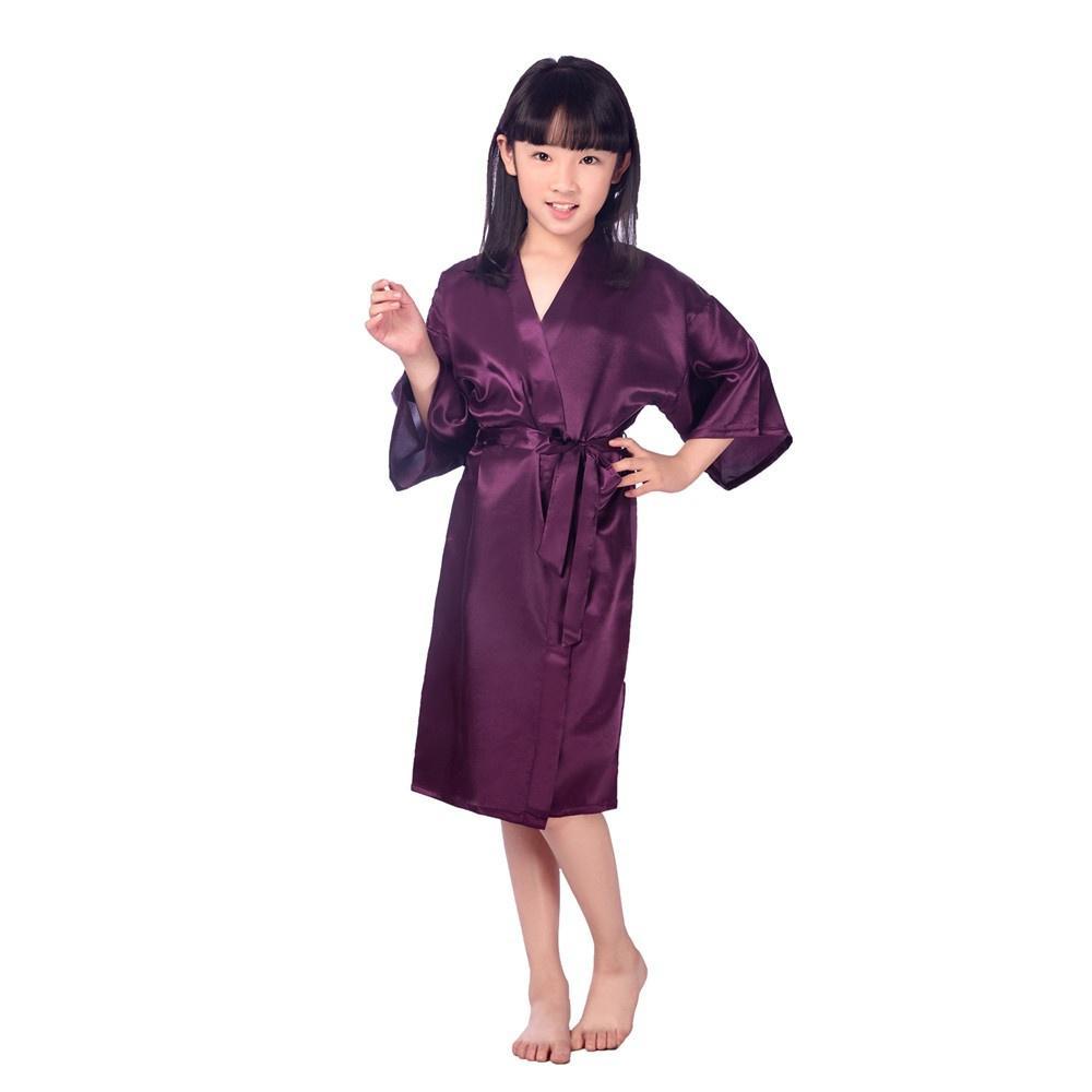 Niña niño seda albornoz Kimono albornoces 4-14 tamaño Dama de honor ...