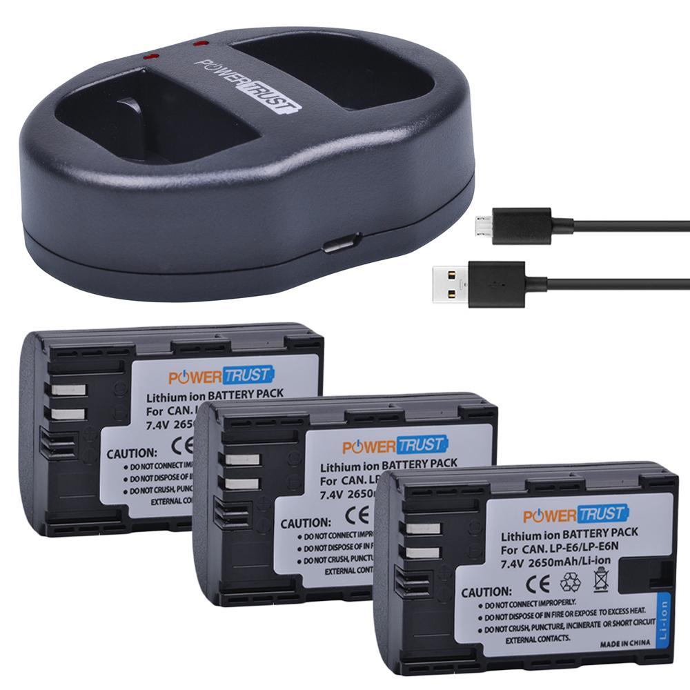 USB Dual Cargador para Canon LP-E6N LP-E6 Canon Eos 90D 80D 70D 60D 2x Batería