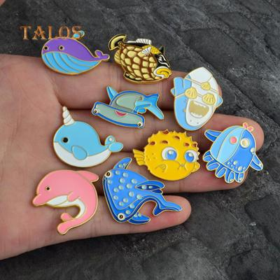 Home & Garden Metal Whale Brooch For Handbag Backpack Collar Accessories Alloy Animal Brooches For Clothes Cartoon Badges Badges