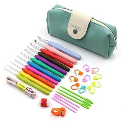 9pcs Crochet Hooks Kit Yarn Knitting Needles Sewing Tool Ergonomic Grip Bag Set