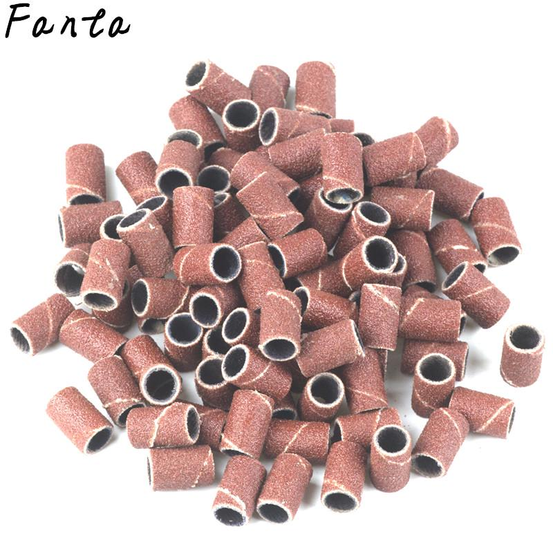 100pcs 80/120/180 Nail Art Sanding Bands Gel Polish Remover Tool for Electric Drill Bits