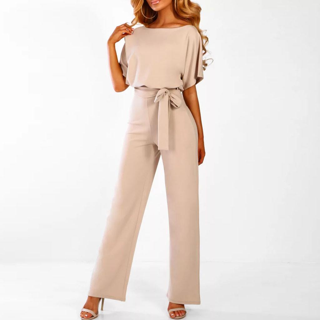 Womens Sleeveless Jumpsuit Romper Casual Clubwear Pants Outfits Belt Shorts