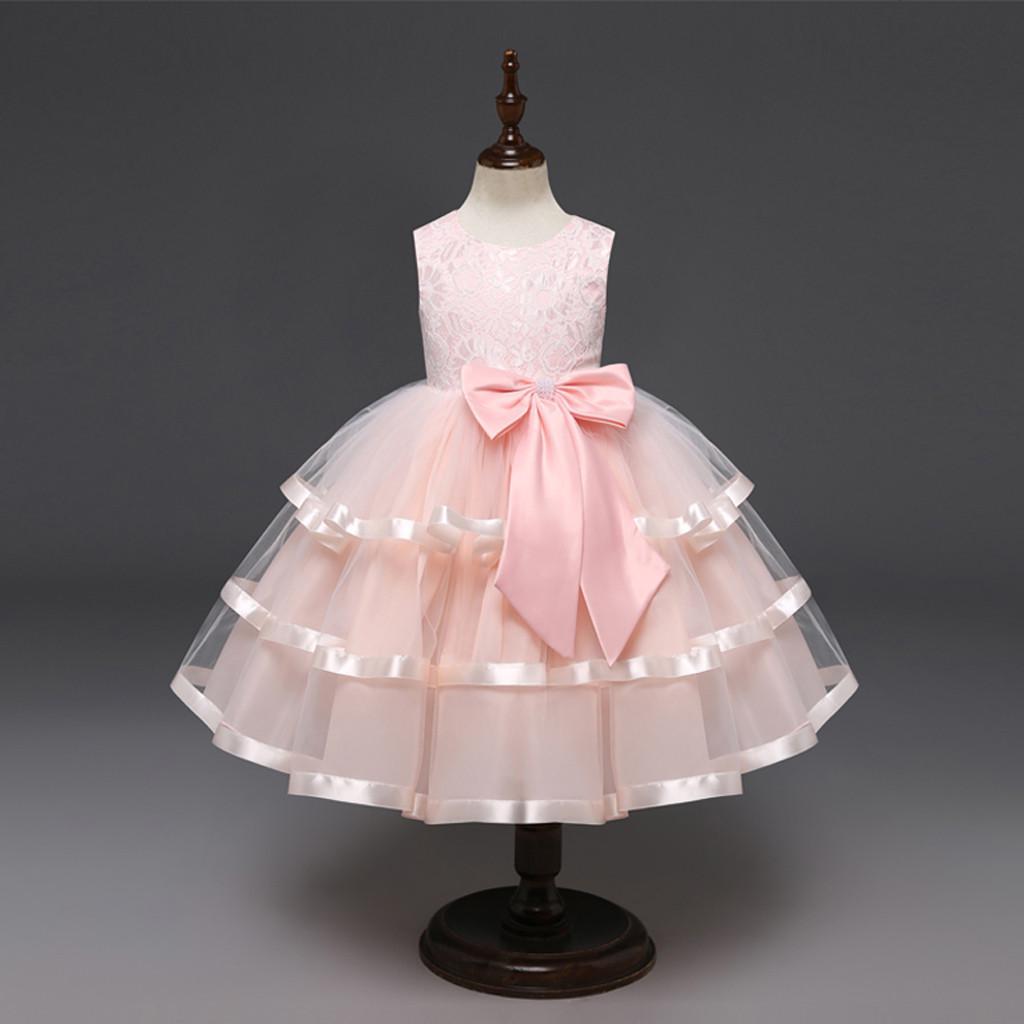4-5T,Rosa Kobay Kind M/ädchen Spitze Bowknot Prinzessin Wedding Performance Formale Tutu Kleid Kleidung