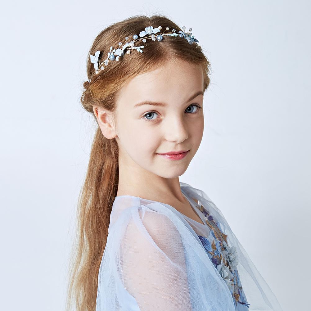 1Pcs Child Kid Flower Girl Wedding Bride Maid Crown Garland Hair Headband Veil H