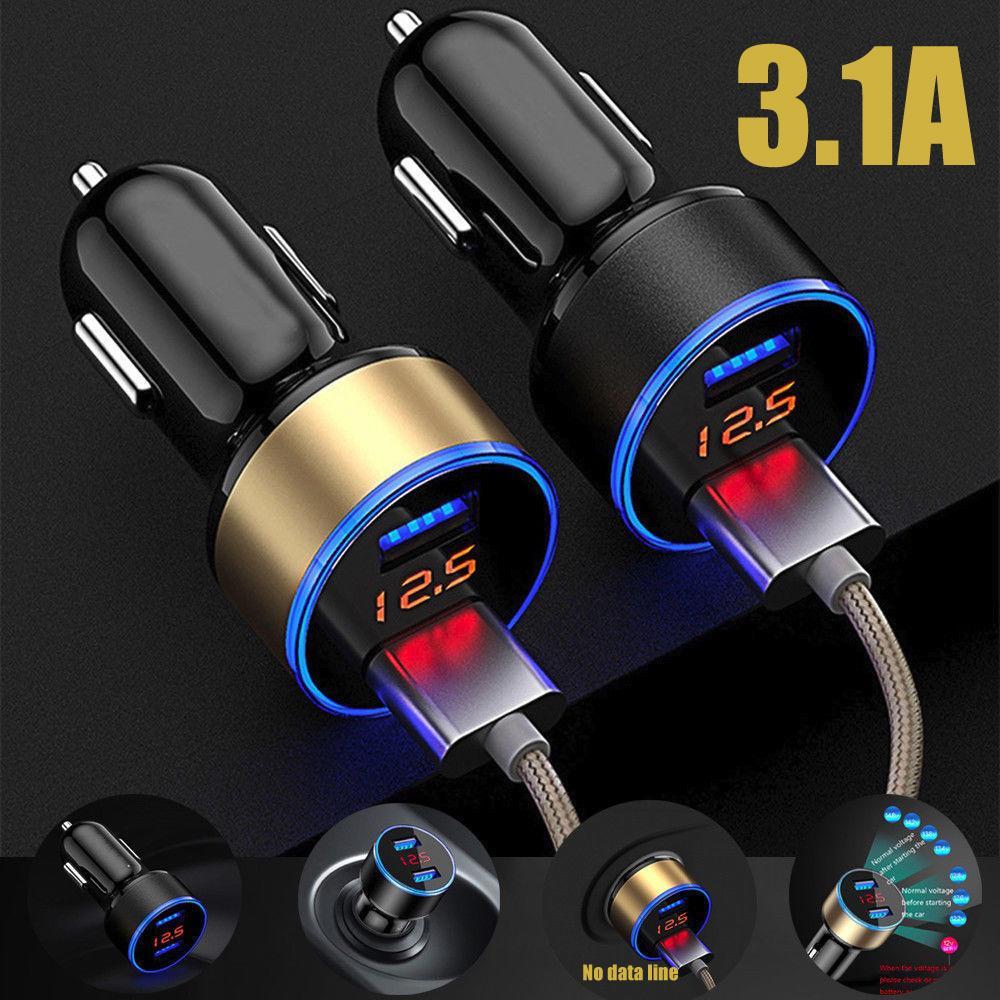 3.1a двойной USB автомобиль зарядное устройство 2 порта ЖК-дисплей 12-24V гнездо прикуривателя