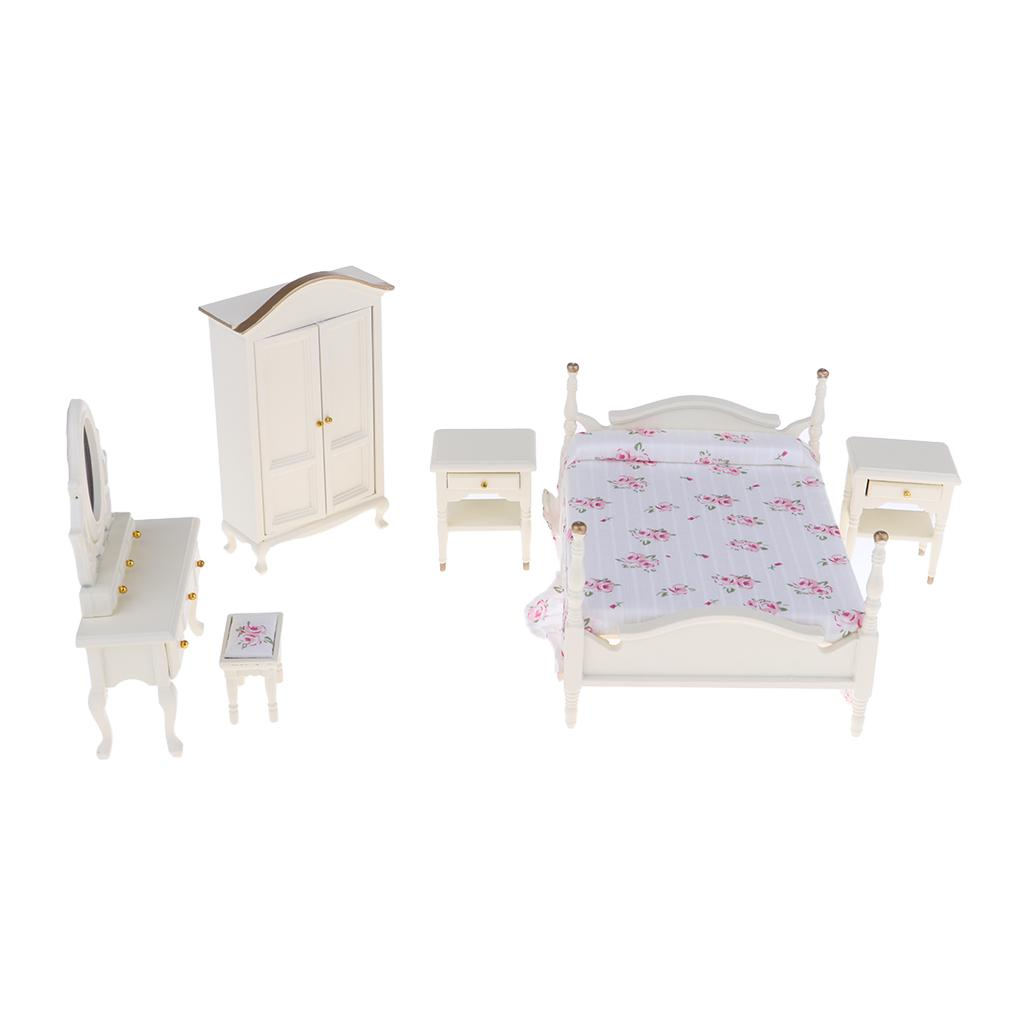 Dollhouse Miniature 6pcs School Desk Chair Set Study Room Furniture Decor