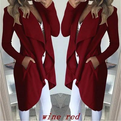 38b459f1fb90c6 Women Cardigan Solid Color Windbreaker Outerwear Lady Lapel Collar Jacket