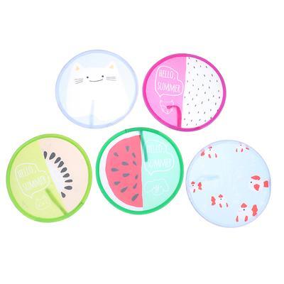 1PC Fruit Round Folding Fan Portable Mini Hand Held Fans Summer Cooling Fan M/<