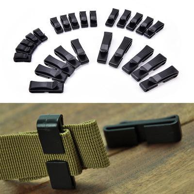 Multi-Size Webbing Ending Clip Quick Slip Keeper Connect Buckle for Backpack Bag Strap Management 20 mm